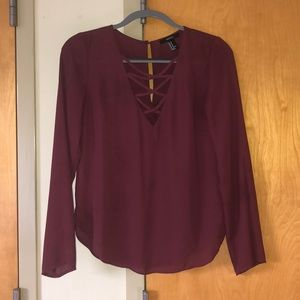 Maroon chiffon dress shirt